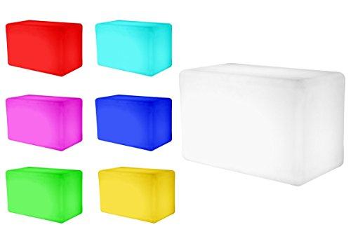 7even®, LED-design bank, LED-verlichting, zitbank, binnen en buiten, accu en RF afstandsbediening, 55 x 30 x