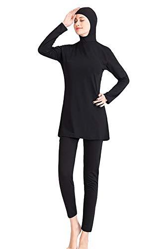 BOZEVON Traje De Baño musulmán - Traje De Baño Modestos para Mujer Traje Islámico Hijab Dos Piezas Cobertura Total Bañador Ropa De Playa, Negro Sólido, EU 4XL=Tag 5XL
