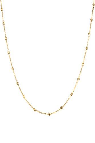 Córdoba Jewels | Gargantilla en Plata de Ley 925 bañada en Oro con diseño Cadena Bolitas Gold 38 cm