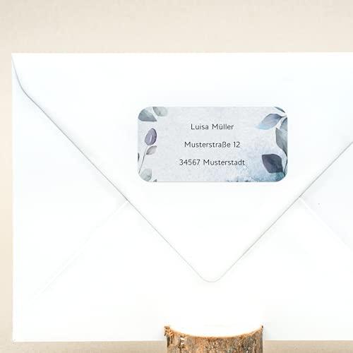 sendmoments Absenderetiketten, Adressaufkleber Blätterwerk, 81 Sticker rechteckig 50 x 25 mm, selbstklebend, personalisiert mit Namen und Adresse, Klebeetiketten für Postsendungen mit Design