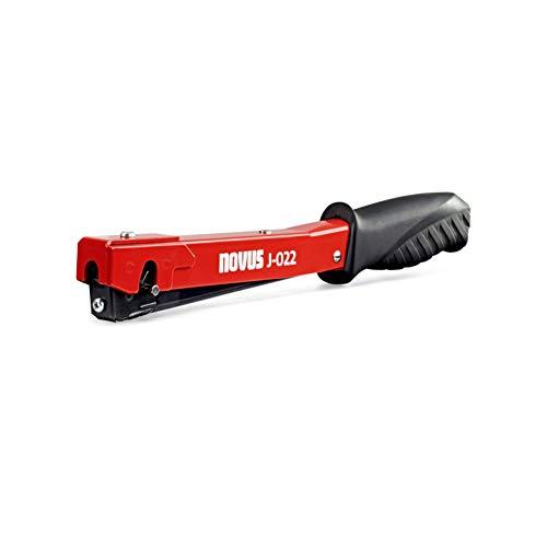 Novus J-022 Hammertacker, Leichter Schlagtacker, Rutschfester Griff, Schnellladesystem für Feindrahtklammern 4-6 mm, Rot