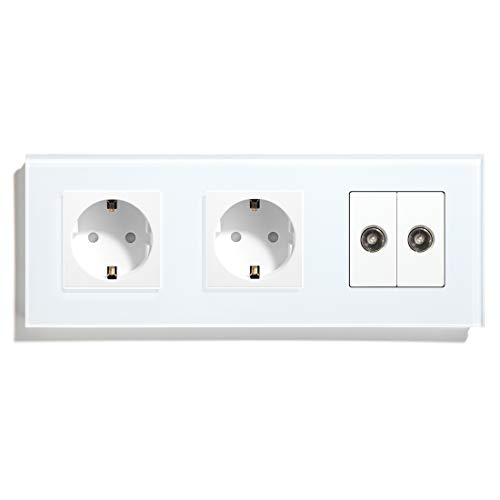 BSEED Double Normal Steckers mit Koaxial-Wandsteckdosen aus TV-Rahmenglas Weiß