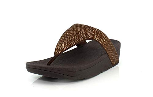 FitFlop Lottie Shimmer Crystal Bronze/Chocolate Brown 9