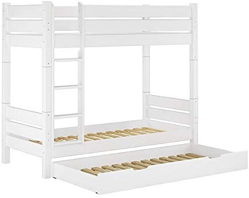 Erst-Holz assivholz-Stückbett Kiefer Weiß90x200 teilbar Rollrost Bettkasten 60.16-09WT100S7