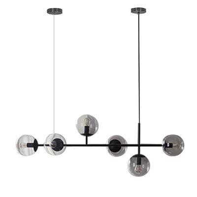 HYY-YY Lámpara de techo de cristal para comedor, sala de estar, dormitorio, lámpara de techo, 96 ~ 260 V (color del cuerpo: negro 6 luces A, tamaño: cristal transparente)