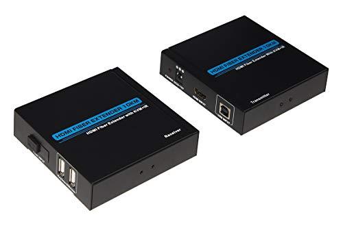 LINK LKEXT21 Extensor HDMI 1080P Full HD a través de Fibra óptica hasta 10 km con Soporte Infrarrojos y Puertos USB para Teclado y ratón