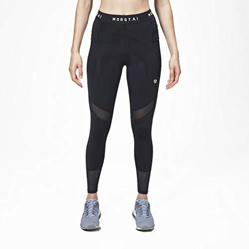 MOROTAI Damen Sport-Leggings Tights Hochwertige Smartphone-Tasche - Yoga Sporthose Freizeithose Laufhose Lang - Schwarz - M