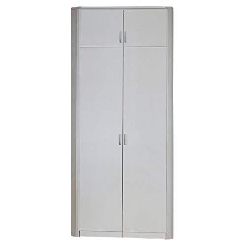 Eckkleiderschrank Dilan weiß 2 Türen 117 x 117 cm mit Aufsatz Schrank Drehtürenschrank Wäscheschrank Kinderzimmer Jugendzimmer Kinderzimmersch