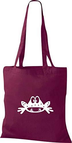 Shirtstown Pochette en tissu Animaux Grenouille Tortue - Rouge - rouge bordeaux,