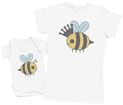 Zarlivia Clothing Queen Bee and Baby Bee - Ensemble Mère Bébé Cadeau - Femme T Shirt & bébé Bodys - Blanc - XL & 18-24 Mois