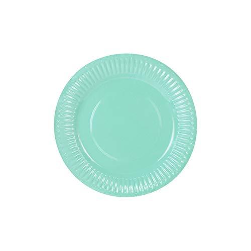 Lot de 6 assiettes en carton vert menthe