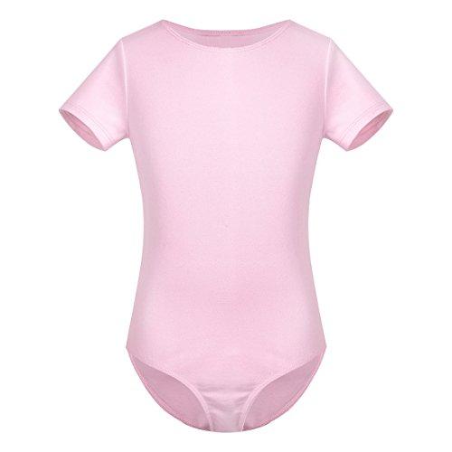 iiniim Kids Girls Cotton Short Sleeves Ballet Dance Tutu Dress Gymnastics Leotard with Chiffon Tied Skirt Outfit Set Pink 2-3 Years