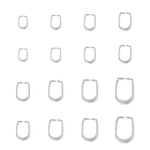 PandaHall 160pcs 8 Dimensioni Ganci per Collana in Acciaio Inossidabile Pinch Clip Snap on Ciondolo Bails Snap Bail Hook Finitura in Metallo Collane Catenacci per creazione di Gioielli