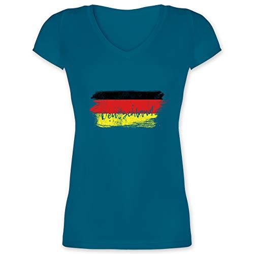 Handball WM 2021 - Deutschland Vintage - L - Türkis - WM - XO1525 - Damen T-Shirt mit V-Ausschnitt