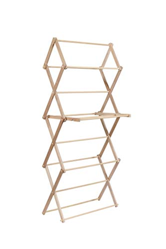 RD's Attic Wooden Clothes Drying Rack :: Heavy Duty Wood Laundry Dryer Stand in Solid, Unfinished Maple Hardwood :: Made in USA by Amish Craftsmen :: Foldable, No Assembly Required (X-Large)