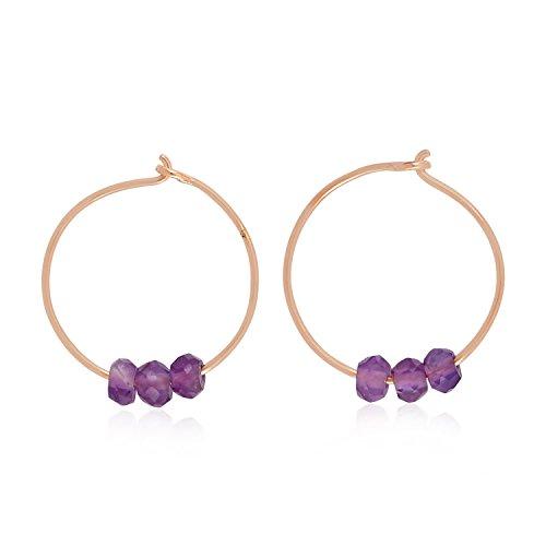 Purple Amethyst Beads Huggie Earrings 18k Rose Gold Tiny Hoop Earrings Handmade Jewelry Gift For Her