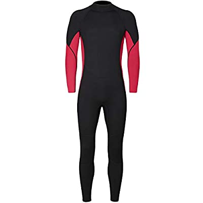 Nataly Osmann Full Wetsuits 3mm Neoprene Scuba Diving Suits Back Zip Swimming Suit for Water Sports for Men (red, M)