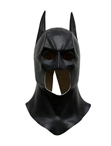 Hpybest - Máscara completa de látex realista de Batman para Halloween, para fiestas de disfraces, carnaval, cosplay, accesorios