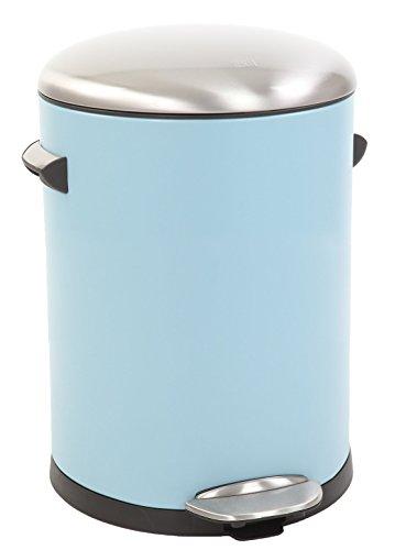 EKO Belle Deluxe Poubelle à Pédale Métal Bleu 27,2 x 23,7 x 30 cm 5 litres