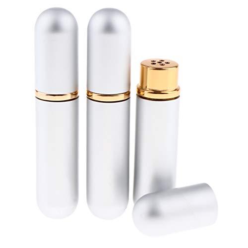 Homyl 3x5ml Bouteille de Parfum Flacon de Voyage en Verre et Métal Vaporisateurs de Parfum - Argent