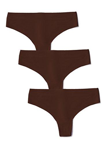 Amazon-Marke: Iris & Lilly Damen Tanga nahtlos, 3er Pack, Braun (French Toast), L, Label: L
