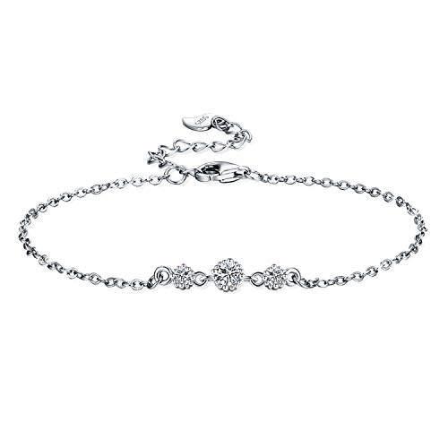 J.RIKKI Women Silver Bracelet Silver 925 Sterling Cubic Zirconia Bracelet for Women Jewellery Bracelet with Elegant Gift Box