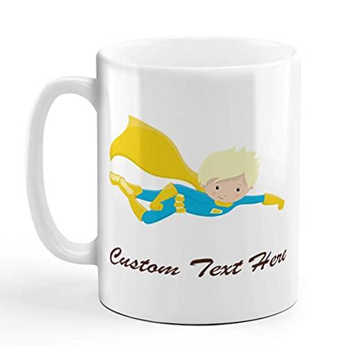Taza de café de cerámica de ustom taza de sublimación azul amarillo héroe rubio blanco taza de té texto personalizado aquí
