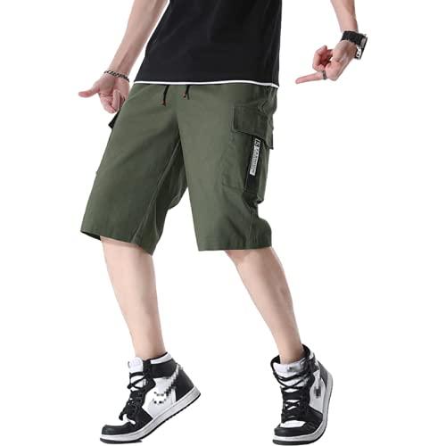 Pantalones cortos tipo cargo de talla grande para hombre, con costura, bolsillos grandes, ropa de calle a la moda, pantalones cortos deportivos informales holgados y cómodos para exteriores XXL