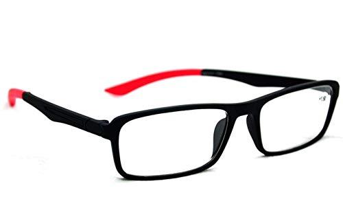 Fads & Fashions Myopia Acetato&Goma Unisex Cerca de Corto Vistado Distancia Gafas NT125 - Negro y Rojo