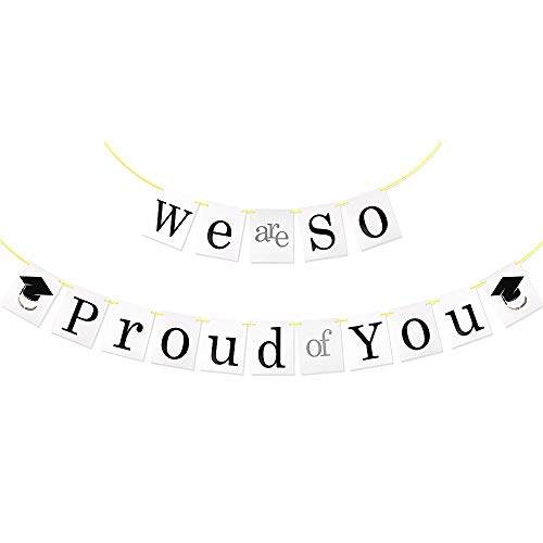 VINFUTUR Graduation Banner, We are So Proud of You Bunting Banner Garland Hanging Backdrop Photo Booth Props for Graduation Party Home Decorations (White)
