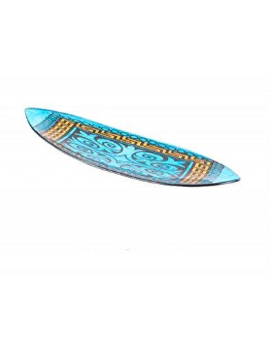 Hogar y Mas Bandeja Canoa Fabricada en Cristal Color Azul