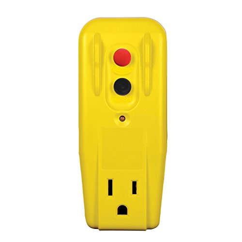 Tower Manufacturing 30439005 Auto-Reset15AMP Grounded 3-Prong GFCI Single Outlet Adapter, Yellow