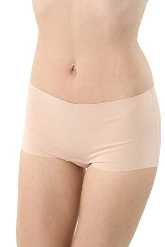 Albert Kreuz 3er-Pack Damen Lasercut nahtlos Clean Cut Boxershorts aus Baumwolle Elastan unsichtbar - Hautfarbe Größe M (38-40)