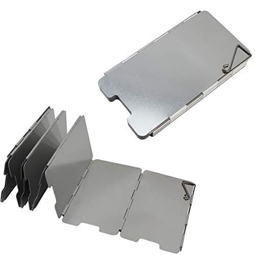 2 Stücke Faltbar Aluminium Windschutz Camp Herd Windschutzscheibe mit 9 Lamellen aus Aluminium Tragbare Windschutzscheibe Windscreen für Camping Kocher Outdoor Grill, Silber