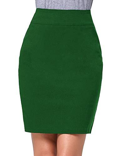 Frauen Elegantes Büro Formelle Kleidung Knielangen Röhrenrock Grün (KK276-3) Small