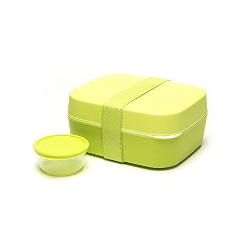Amuse Unterteilte Bento Box 3 in 1 Set, für Kinder und Erwachsene, Salatbox/Brotdose mit Fächern, zwei Etagen und Extra-Behälter für Dressing, Früchte oder Joghurt, Kunststoff, grün, 18 x 15 x 8,5 cm