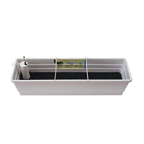 Technoplant 10502 Balkonkasten Verona, inklusiv Einfüllstutzen und Wasserstandsanzeiger, 80 cm, weiß