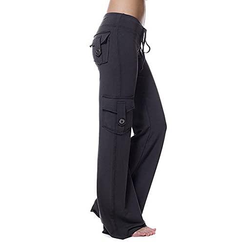 N\P Damen Jogginghose mit elastischem Taillenbund und Knöpfen, klassische Trainingshose, lange Hose Gr. L, Schwarz