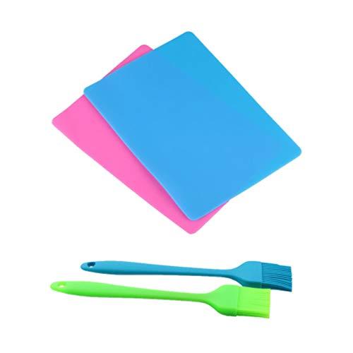 Milisten 4 Stuks Siliconenharsmatten en Borstels Set Anti-Aanbak Siliconen Plaat Kristal Epoxy Gereedschap Voor Doe-Het-Zelf Sieraden Maken Van Gietvormen 40X30cm (Blauw Roze)