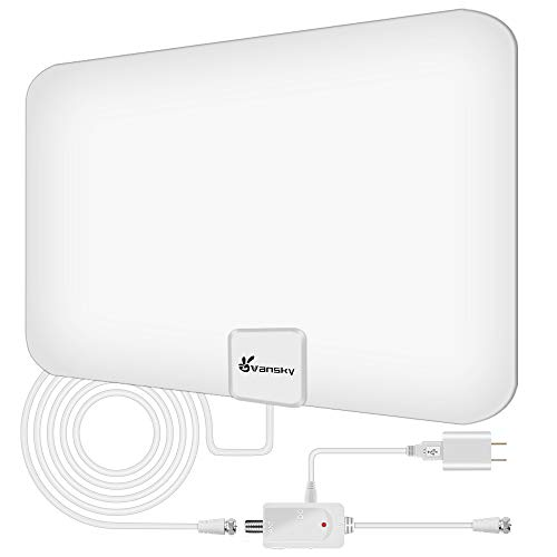 Vansky TV Antenna - HD Amplified Digital HDTV Antenna 65-90 Mile w/Local Broadcast 4K VHF UHF Signal Channels for All TVs with Detachable Amplifier - 16.5feet Coax Cable