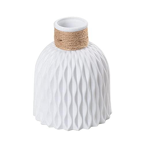 MLOPPTE Decorazioni per la casa,Vasi di plastica Decorazioni per la casa Vasi anti-ceramica Imitazione Vaso di fiori in rattan Decorazioni moderne per matrimoni Cesto infrangibile Bianco