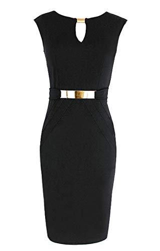 DELEY Abbigliamento Femminile Collo Senza Maniche Lavoro Slim Bodycon Abbigliamento da Lavoro Abito A Matita Nero Taglia XL