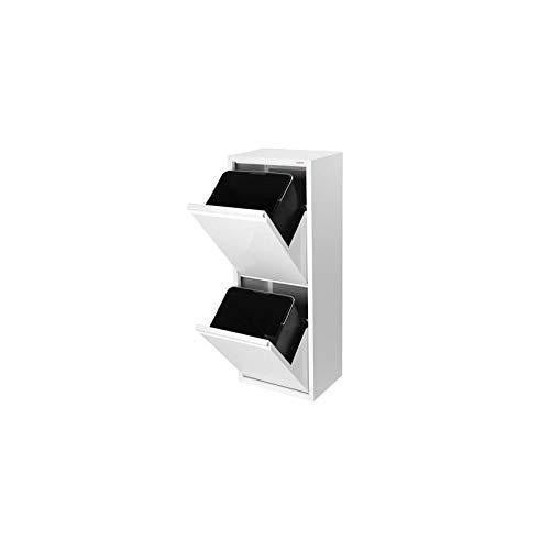 Duett Cubo de Basura metálico Blanco 2 departamentos
