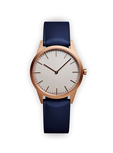 Uniform Wares Unisex Herren & Damen C35 Uhren in PVD Rose Gold with Blue Nitrile Rubber Strap