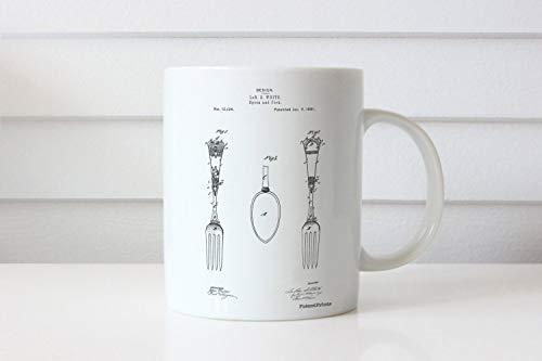 Taza con diseño antiguo de cuchara y tenedor de plata antigua PP0258