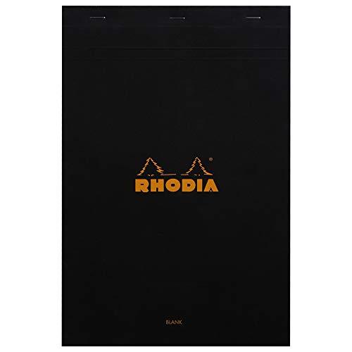 Rhodia 190009C - Bloc de notas (DIN A4, 80 g, 21 x 31 cm, 80 hojas), color negro