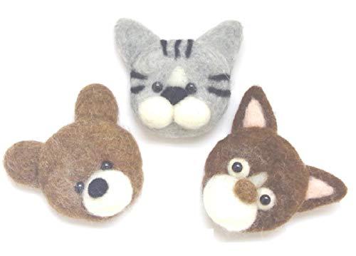 ハンドメイド羊毛フェルトブローチピン コサージュ クリップ 動物 クマ ネコ 犬 完成品 Y-141 (グレーねこ1匹)