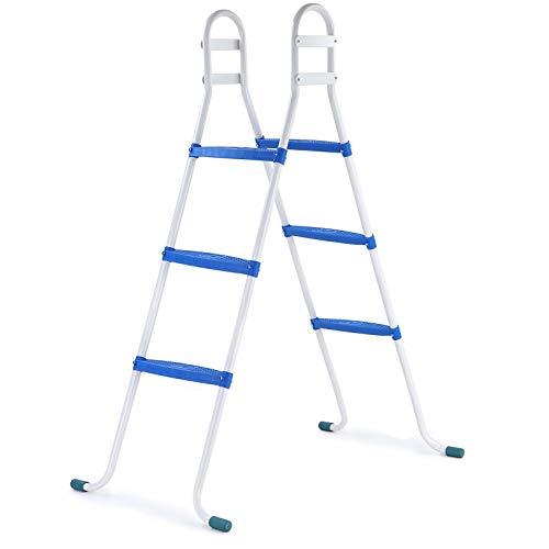 RAMROXX 39419 Poolleiter Pool Swimmingpool Leiter mit 3 Stufen Blau universal bis 105cm