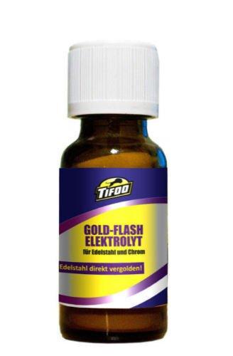 Goldelektrolyt Flash (20 ml) - Für Vergoldung von Edelstahl & Chrom