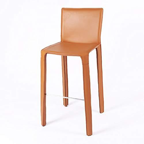 WJT-Barstool Nordic Fashion High Chair Bar Chair Modern Minimalist Bar Stools Home Creative Leather Art Chair Size: 51×50×100cm (Color : Yellow)